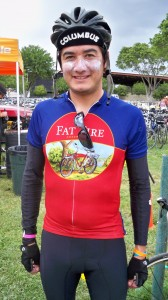 Cyclist Wearing New Belgium Jersey