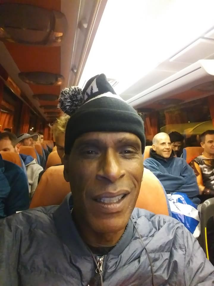 Athens Marathoner on Shuttle Bus to Marathon, Greece