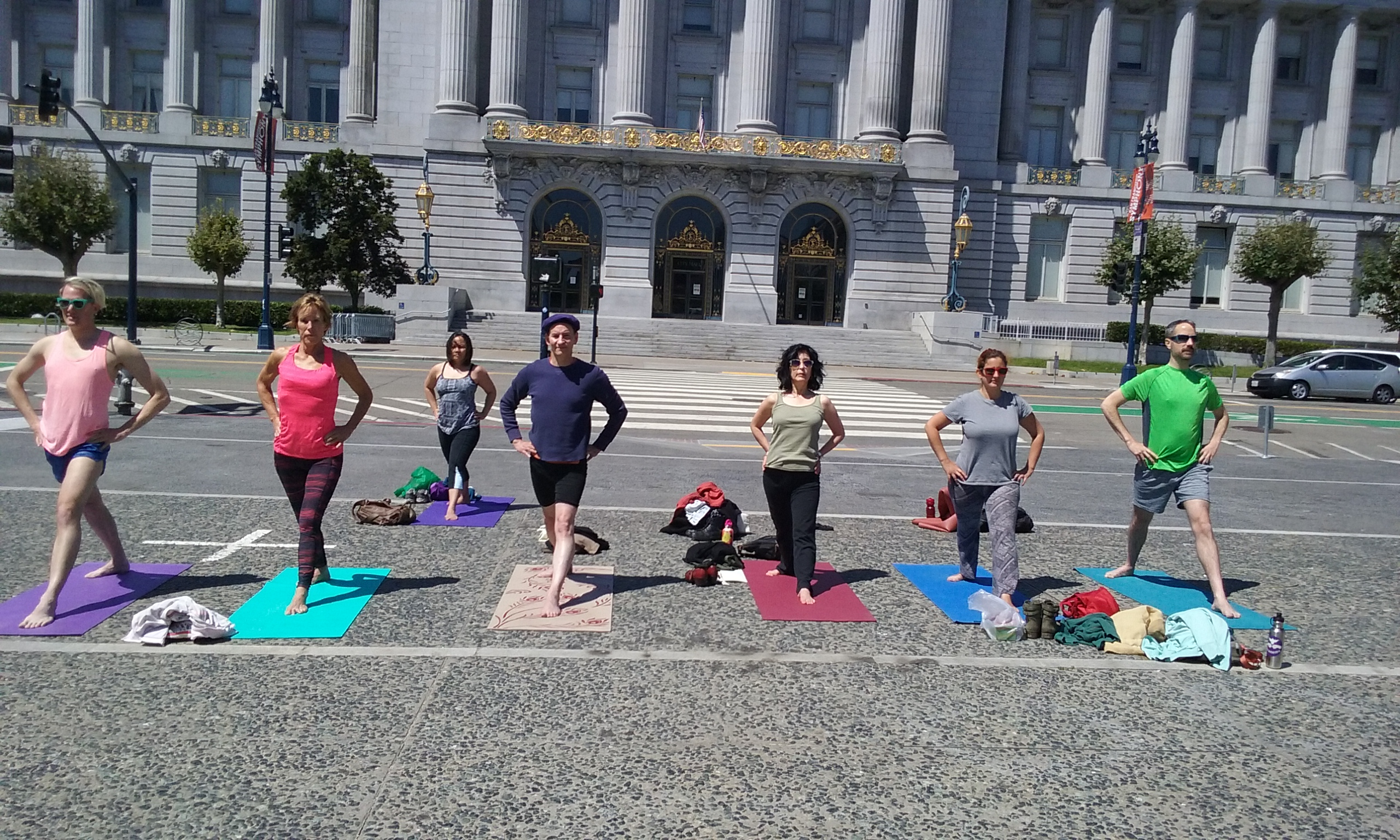 Yoga students at City Hall San Francisco
