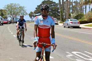 AIDS/Lifecycle Cyclist, Tony Eason wearing a Soulcraft Bike Jersey
