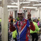 ALC Cyclist Tony Eason gives a piece sign.