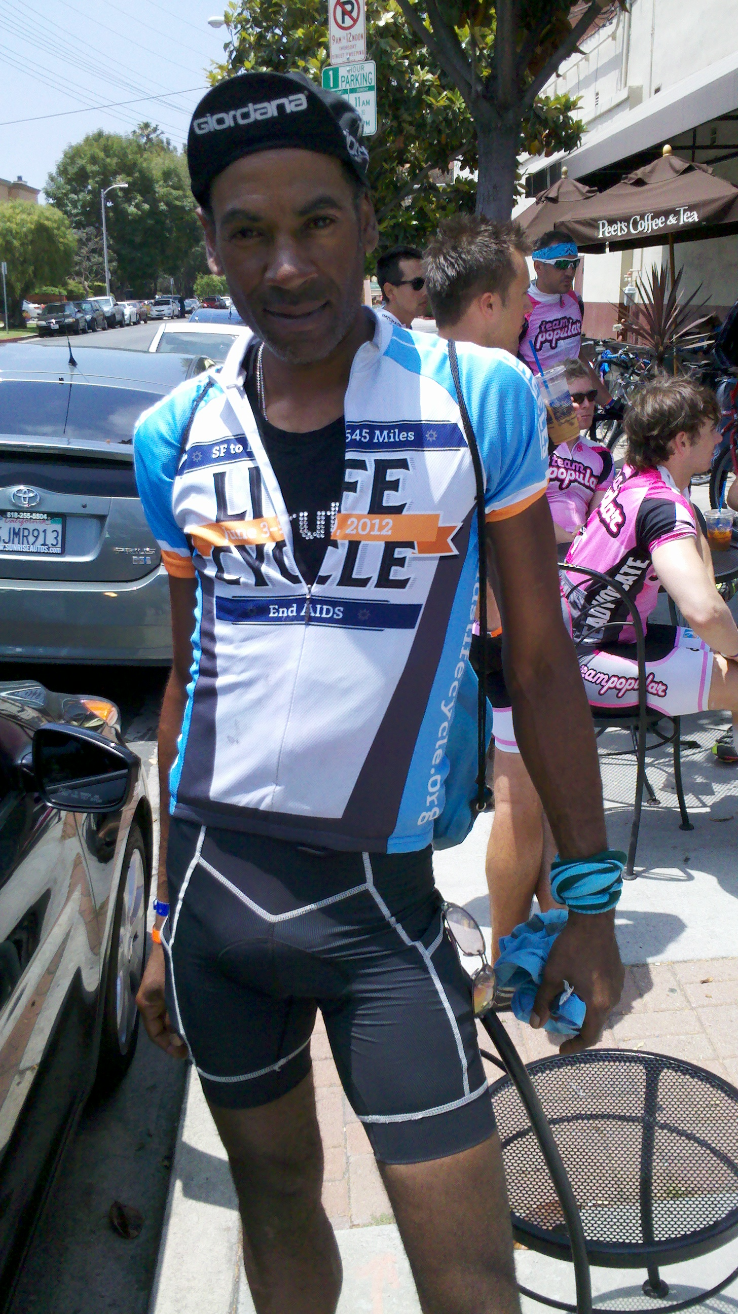 Cyclist wearing Official AIDS/Lifecycle Jersey