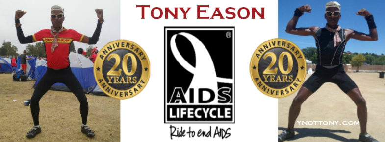 AIDS/Lifecycle Cyclist, Tony Eason poses for his 20th Anniversary Photo