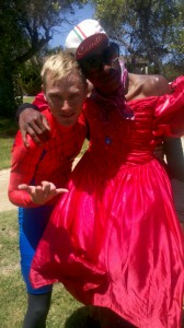 2 AIDS/Lifecycle Cyclist in Red Dresses