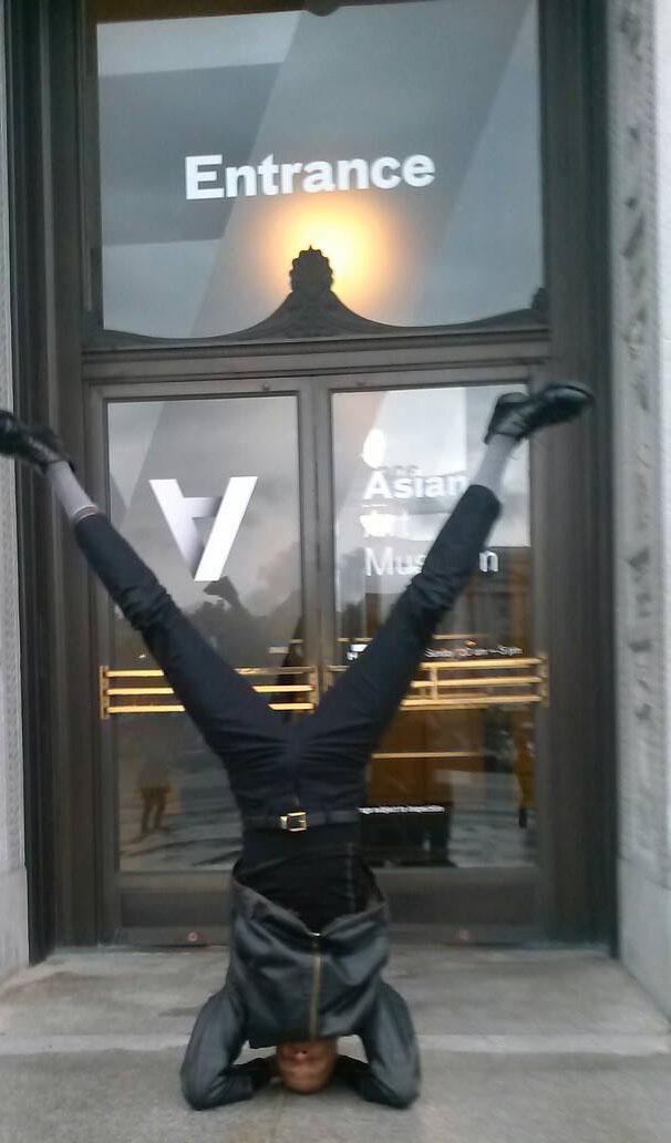 Yoga Teacher, Tony Eason does Sirsasana in San Francisco