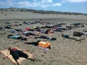Yoga Students doing beach Yoga |San Francisco