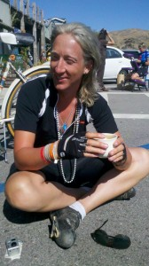 AIDS/Lifecycle Cyclist drinking coffee