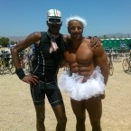 AIDS/Lifecycle Cyclist Tony Eason and a Muscle Bound Roadie
