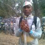 AIDS/Lifecycle Cyclist Tony Eason drinking coffee