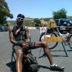 AIDS/Lifecycle Cyclist Tony Eason sitting down.