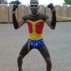 AIDS/Lifecycle Cyclist Tony Eason dressed as Wonder Woman