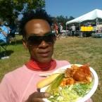 AIDS/Lifecycle Cyclist, David Sears Eatting Dinner