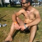 AIDS/Lifecycle cyclist sun bathing