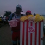 AIDS/Lifecycle cyclist Tony Eason eatting Popcorn