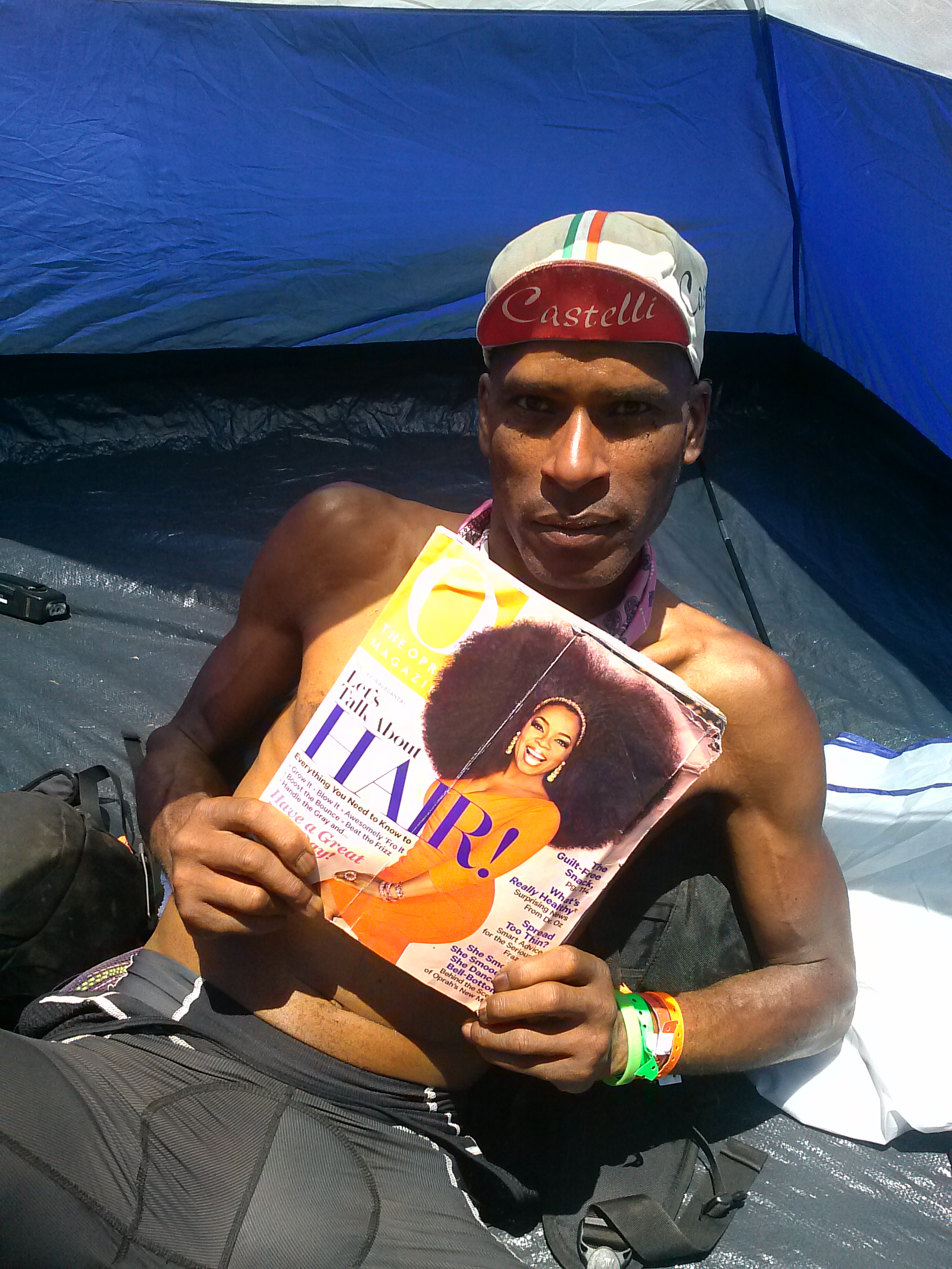 AIDS/Lifecycle Cyclist holding an O Magazine
