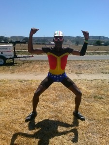 AIDS/Lifecycle Cyclist dressed as Wonder Woman