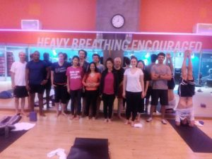 Yoga Teacher, Tony Eason and Yoga Students
