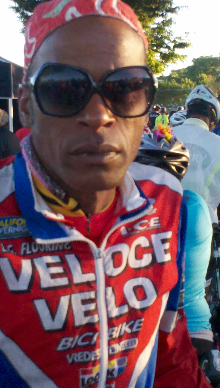AIDS/Lifecycle Cyclist stares into camera