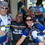 AIDS/lifecycle Cyclist, Blake Strasser & Ramon Bostic at Finish Line