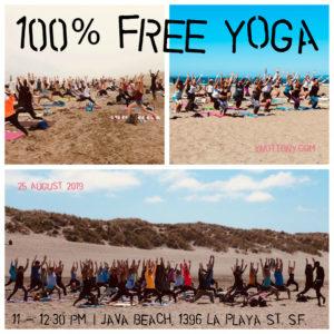 Free Yoga Class | Yoga Students at Ocean Beach, San Francisco.