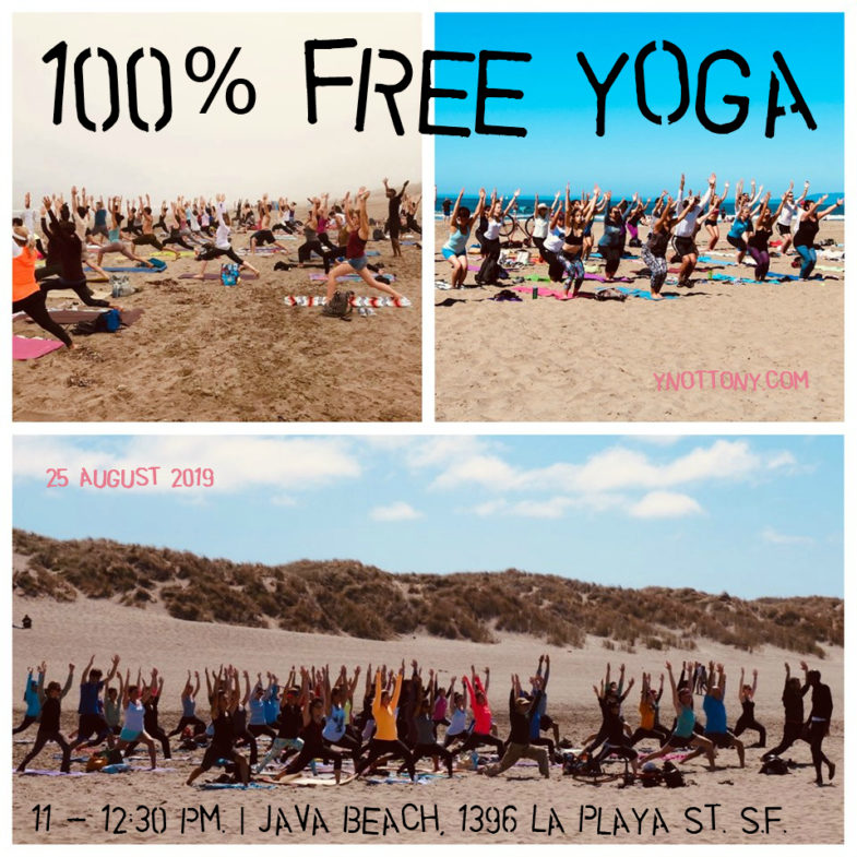Free Yoga Class | Yoga Students at Ocean Beach, San Francisco.