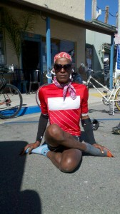 AIDS/Lifecycle Cyclist, Tony Eason doing Yoga