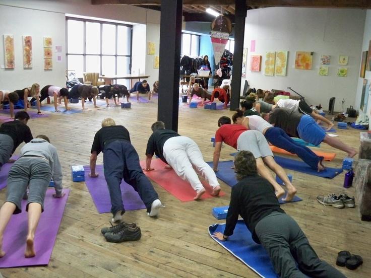 Yoga students at Sports Basement