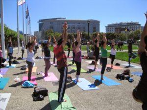 Yoga students City Hall sf