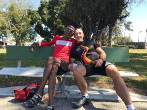 AIDS/LIFECYCLE JENS TEAM GERMANY HUGGING TONY EASON