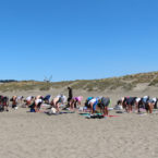 Yoga students outdoor yoga on Ocean Beach SF