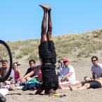 Yoga teacher does sirsasana