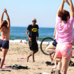 Yoga teacher teaches at Ocean Beach sf