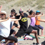 Best yoga teacher in San Francisco does warrior pose