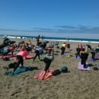 Yoga Students on Ocean Beach SF