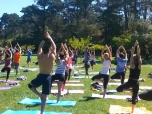 Yoga class at the park