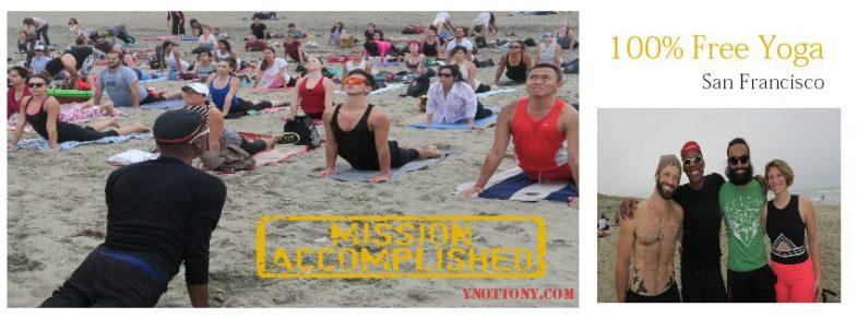 Yoga Students being taught by yoga teacher on Ocean Beach San Francisco