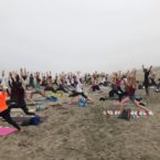200 yoga students Ocean Beach SF