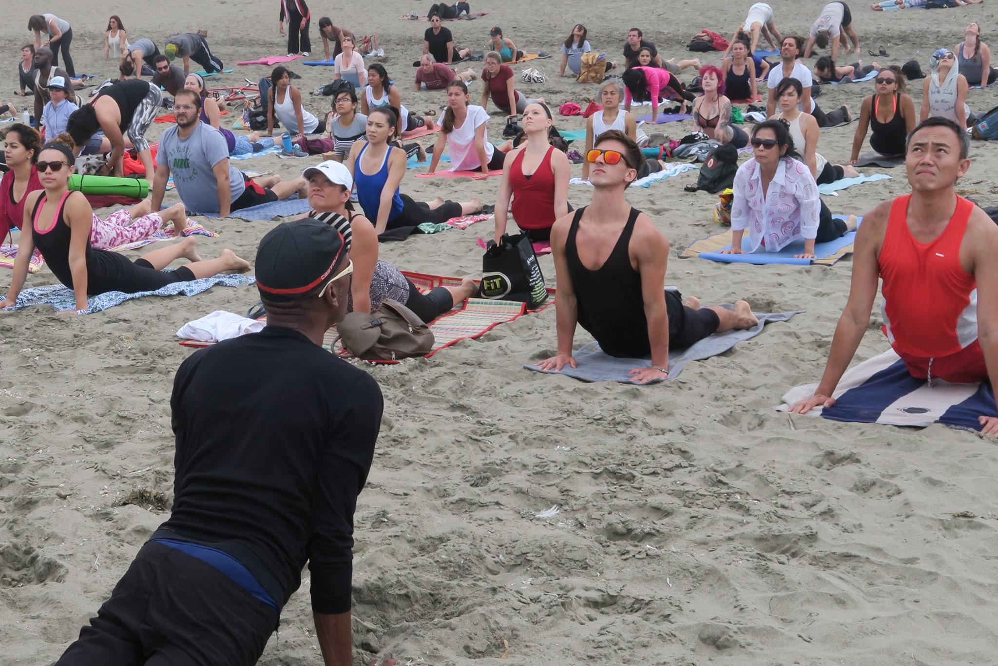 Yoga teacher tony eason and 150 yoga students