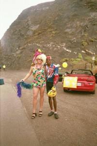 Cheerleader on the cliffs of Malibu