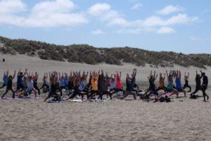 Office Yoga Class on Ocean Beach, San Francisco