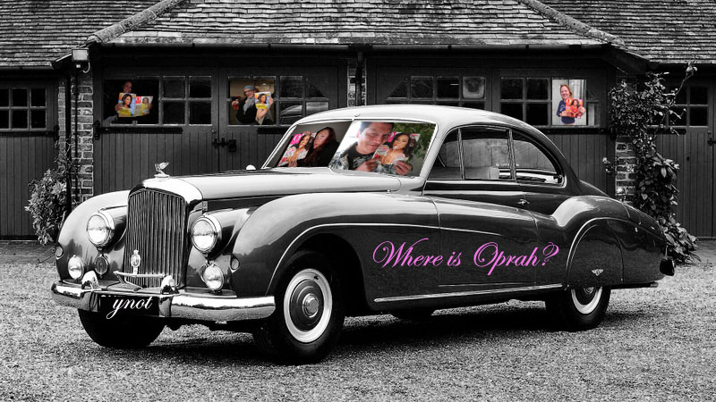 Oprah in the Bentley