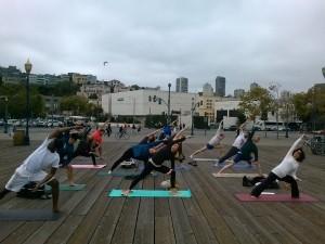 Yoga Students doing Parsvokonasana
