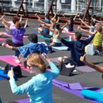 Roof Top Yoga Class at Sports Basement, San Francisco.