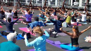Roof Top Yoga Class at Sports Basement, San Francisco.